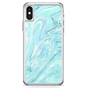 iPhone X Transparent Edge Phone Case Liquid Marble Phone Case Liquid Blue Marble iPhone X Cover with Transparent Frame