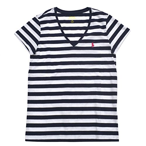Ralph Lauren Womens V-Neck Jersey T-Shirt (S, White/Navy Striped) (Ribbed Lauren Jersey Ralph)