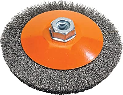 "Walter Surface Technologies 13H654 Saucer-Cup Crimped Wire Brush, Threaded Hole, Carbon Steel, 6"" Diameter, 0.012"" Wire Diameter, 5/8""-11 Arbor, 9000 Maximum RPM, Orange"