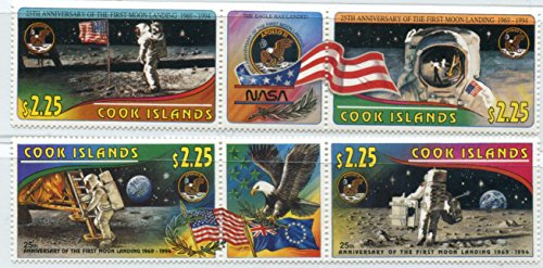 Cook Islands Stamps: 4 Stamp Set on Two Strips, 1994, 25th Anniversary of First Moon Landing, (Cook Islands Stamps)