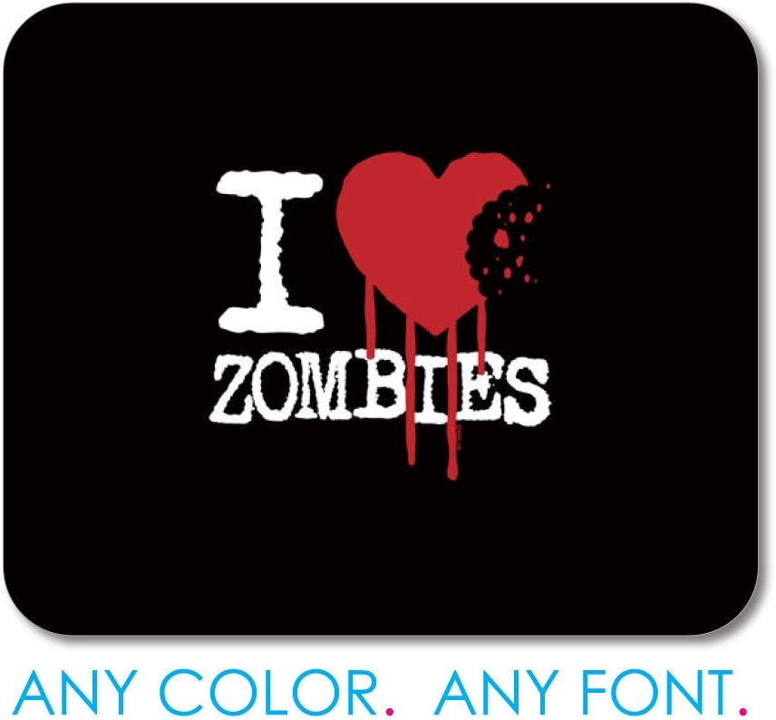 Custom Photo Mouse Pad- Personalized Mousepad - I Heart Zombies Office Desk Accessories Cubicle Desk Decor - 7.9x9.9 inches