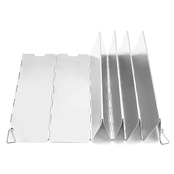 Leezo 9 Plates Folding Camping Stove Windscreen Outdoor Wind Deflectors Camping Stove Windshield Cooking Cooker Gas Stove Wind Shield Screens