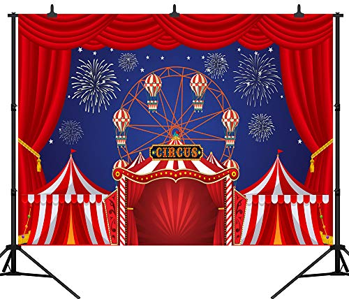 DePhoto 7X5FT(210X150CM) Carnival Circus Party Banner Red Curtain Stratus Playground Fun Fair Baby Shower Seamless Vinyl Photography Backdrop Photo Background Studio PGT377A ()
