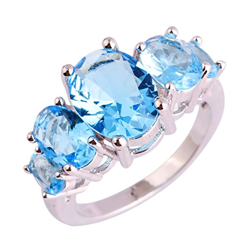 Psiroy 925 Sterling Silver Created Blue Topaz Filled 5 Stone Engagement Ring Band Size 8