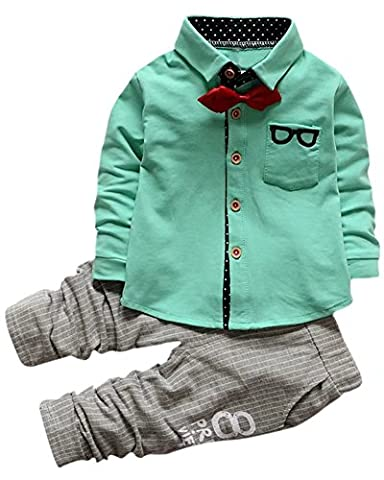 2 Pieces Tuxedo Outfit, Long Sleeves Party Dress Shirt with Bow Tie + Harem Jogger Pants Set for Infant, Toddler Baby & Little Boy, Green 9-12 Months