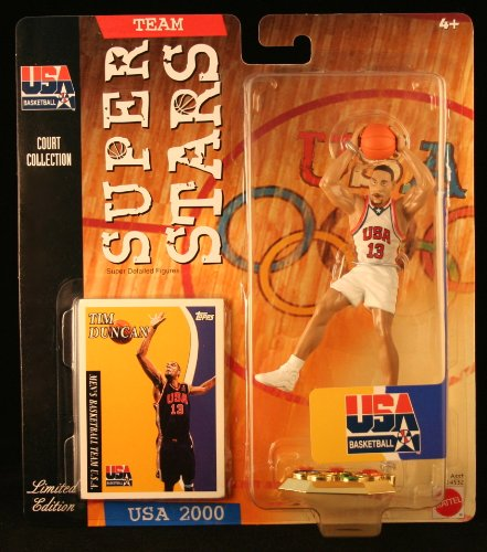 TIM DUNCAN * 2000 OLYMPICS MEN'S BASKETBALL TEAM U.S.A. * NBA Team Super Stars Limited Edition Figure, USA Display Base & Exclusive Topps Collector Trading Card ()