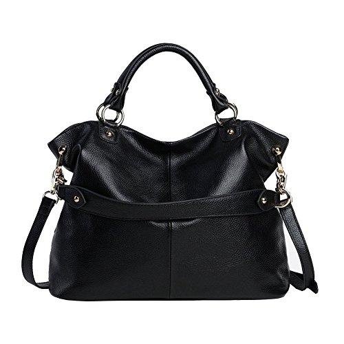 Image of Kattee Women's Soft Genuine Leather 3-Way Satchel Tote Handbag Black