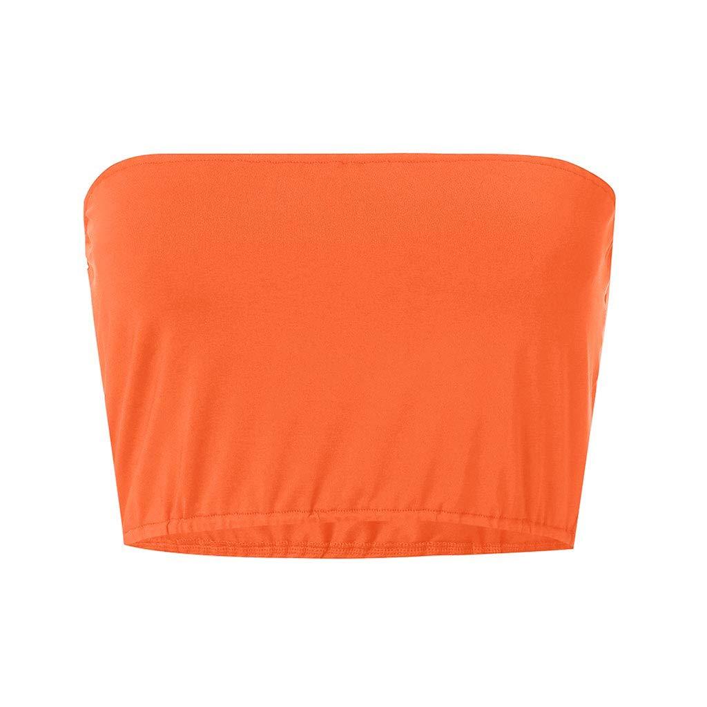 Women's Strapless Basic Casual Crop Camisole Cami Top Regular