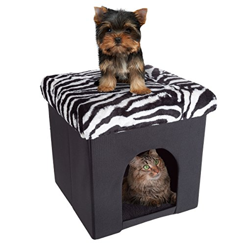 PETMAKER Pet House Ottoman- Collapsible Multipurpose Cat or Small Dog Bed Cube and Footrest with Cushion Top and Interior Pillow by (Zebra Print Plush)