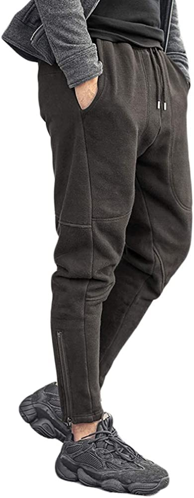 MIXLIMITED Mens Fleece Joggers Trousers Thickening Slim Men Casual Hip Hops Pants