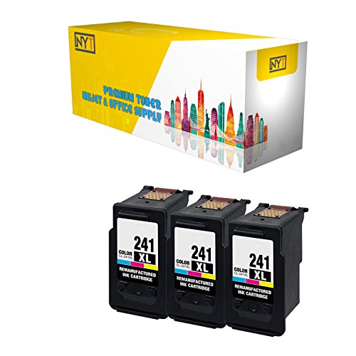 New York Toner New Compatible 3 Pack CL-241XL High Yield Inkjet For - PIXMA MG3222 | PIXMA MG4120 | PIXMA MG4220 | PIXMA MG3520 | PIXMA MX372 | PIXMA MX439 | PIXMA MX452. -- Color