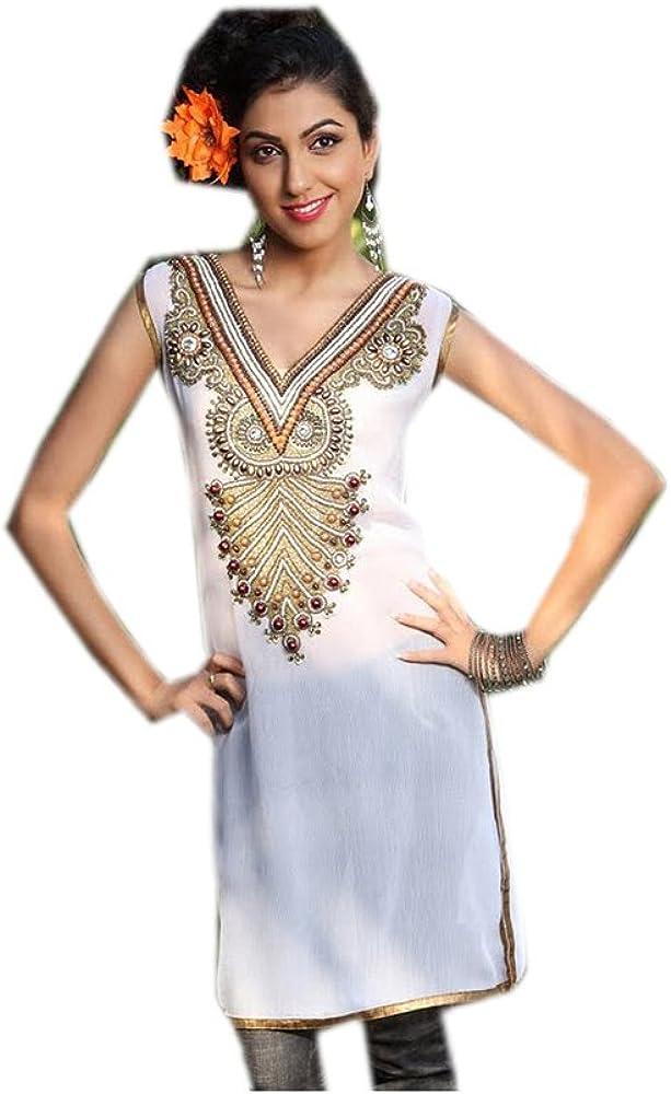 Jayayamala White Georgette Tunic V Neck Beads Work Top