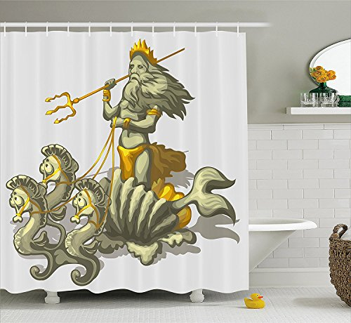 Animal Decor Shower Curtain Old Mythologic Character Triton in Shell with Seahorse Poseidon Greek God Fabric Bathroom Decor Set with Hooks Green
