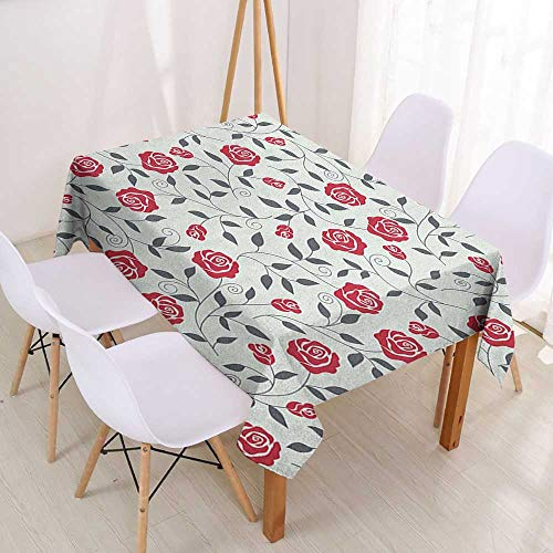 "Wendell Joshua Tablecloth Custom Rose,Abstract Silhouettes Stylized Gardening Bedding Plants Curly Stems Swirls Pattern,Dark Coral Grey,Dinner Kitchen Home Decor 39""x55""inch"