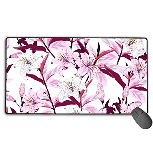 Gaming Mouse Pad Blooming Lily Flowers Pattern Non-Slip Rubber Backing Printed Mouse Mat