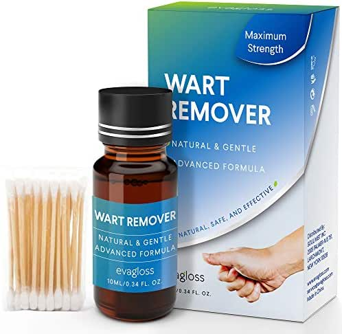 Evagloss Wart Remover Liquid - Maximum Strength- Painlessly Removes Common and Plantar Warts- BONUS Cotton Swabs