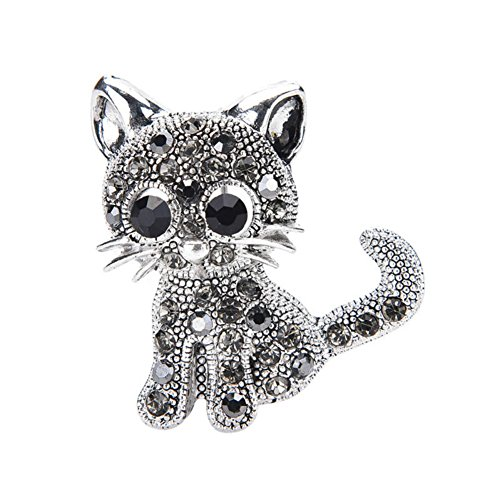 Qike Cute Little Cat Brooches Pin Antique Silver Plated Coat Shirt Clips Fashion(Silver)