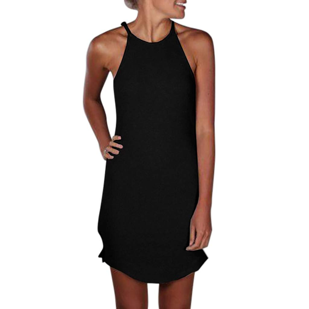 Mysky Fashion Women Summer Classic Pure Color Soft Sleeveless Camisole Mini Dress