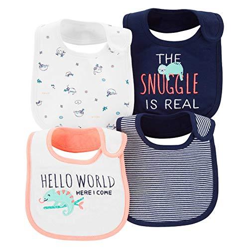 Carters Unisex Baby 4-Pack Teething Waterproof Bibs (Snuggle is Real), Navy/Neon Orange, One Size