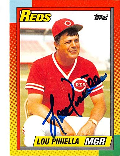 (Lou Piniella autographed baseball card (Cincinnati Reds World Series Champion Manager) 1990 Topps)