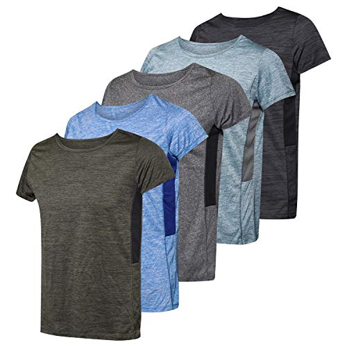5 Pack: Womens Quick Dry Fit Dri Fit Active Wear Yoga Workout Athletic Tops Essentials Clothes Running Gym Zumba Exercise Ladies Short Sleeve Crew Neck T-Shirt - Set 4,XXL