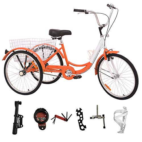 H&ZT Single Speed Adult Tricycle Trike Cruiser Bike 3 Wheeled Bicycle w/Large Basket and Maintenance Tools, Men's Women's Cruiser Bicycles, 26 Inch Wheel Size Bike Trike (26 Inch Orange, Single Speed)