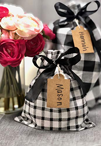 "Appleby Lane Fabric Gift Bags (Standard Set, Plaids & Stripes) Set of 5 100% Cotton Bags, Three 16""x12"" and Two 10""x8"""