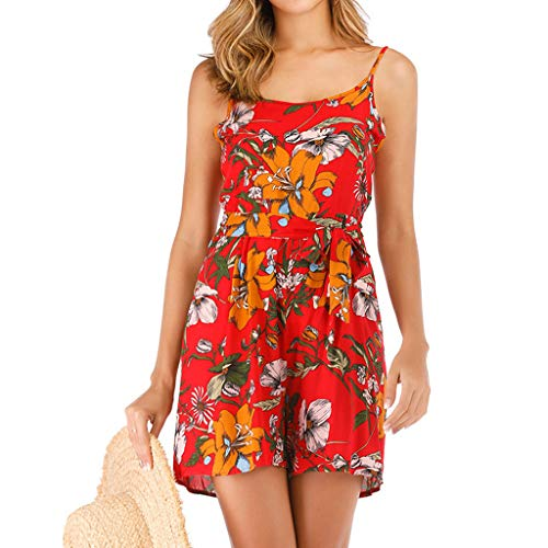 QIQIU Womens Sexy Sling Floral Print Elegant Loose Truffle Back High Waisted Backless Fashion Jumpsuit Rompers Red -