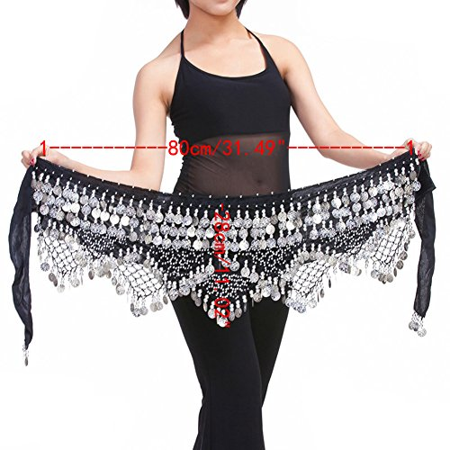 Saymequeen Belly Dancing Dance Waist Chain Hip Scarf Skirt Belt With 320 Coins (black & silver (Sexy Belly Dance Costumes)