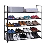 CLAPOTIS 5-Tiers Shoe Rack Shoe Shelf Stand Organizer with Non-Woven Fabric Dark Brown