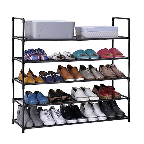 CLAPOTIS 5-Tiers Shoe Rack Shoe Shelf Stand Organizer with Non-Woven Fabric Dark Brown by CLAPOTIS
