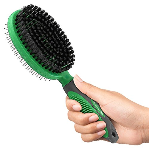 K9KONNECTION Dog Brushes for Shedding - 2 in 1 Pet Hair Cleaning Brush, Pin & Bristle Dog Dematting Tool for Dogs & Cats with Long or Short Hair - Removes Loose Fur From Pets & Clothes