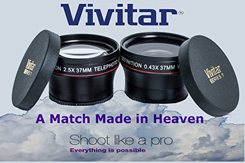 2 LENS HD WIDE ANGLE & 2X TELEPHOTO LENS FOR SONY HDR-XR520 HDR-XR500 HDR-CX12 by - Vivitar