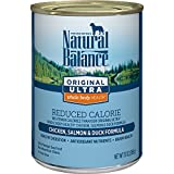 Natural Balance Original Ultra Whole Body Health Reduced Calorie Wet Dog Food Cans, 13-Ounce (Pack of 12)