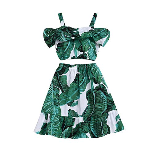 Toddler Baby Girl Strap Banana Leaf Print Strappy Cold Shoulder Cropped Top + Long Skirts Outfits Clothes Set (Green, 3-4 Years) -