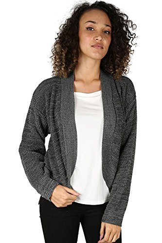 Oops Outlet Femmes Torsade Grosse Maille Tricot Maille Manches Longues Ouvert Front Cardigan Boléro Cache Épaules Grande Taille UK 8-22 - Charbon Marne, Grande taille (EU 44/46)