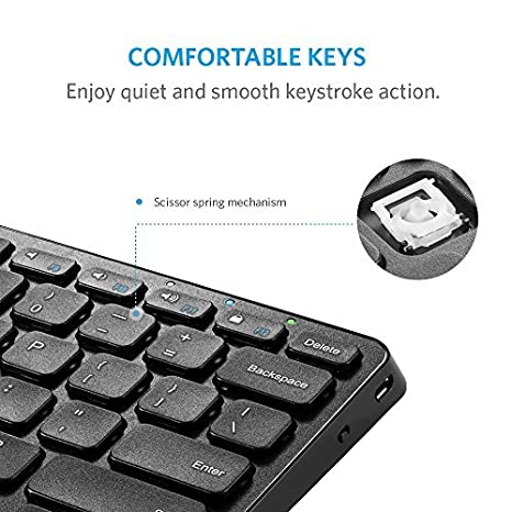 965981649fb Anker Ultra Compact Slim Profile Wireless Bluetooth Keyboard with  Rechargeable Battery Universal Compatibility with iPad and ...