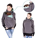 Exclusive Version-NeuFashion Double Thick Real Baby Carrier Hoodie Jacket Kangaroo Coat Women Maternity Pregnant Top Baby Wearing Baby Holder Fleece Hooded Sweatshirt Baby Carrier Sweater XL, Grey