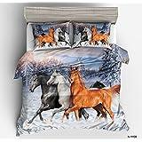Longji 2018 100% Polyester 3D Horse Colour Yellow Black boy Sets Twin Full Queen King Size Quilts/Duvet Cover Bedding Sets (Size : EU-Single)