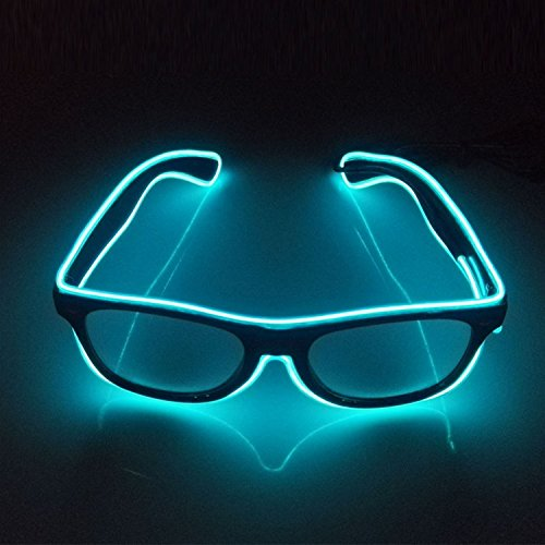 Light Up EL Wire Glasses Sound Active LED Glasses with Dark Lens for Costume Party Festival,Party Concert(sky - Lighted Led Sunglasses