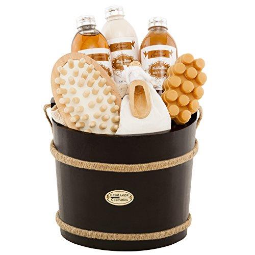 BRUBAKER 9 Pcs Wooden Spa Bath Gift Basket - Coconut