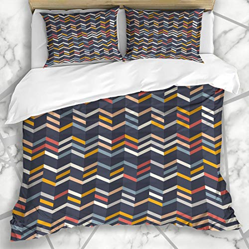 Ahawoso Duvet Cover Sets Queen/Full 90x90 Striped Teal Line Zigzag Pattern Yellow Orange Red Abstract Color Broken Border Chevron Classic Microfiber Bedding with 2 Pillow Shams