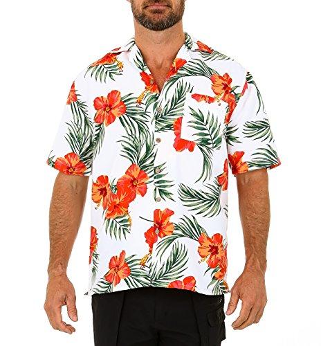 UZZI Men's Tropicana Dry-Fit Floral Hawaiian Shirt Coral 2XL