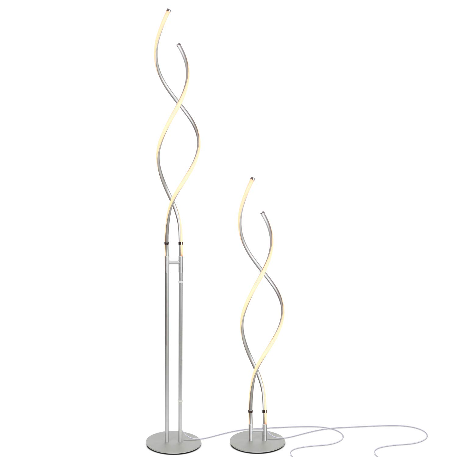 Brightech Embrace – Modern, 40 Inch Tall Lamp for Living Rooms - Adjustable to 66'' LED Floor Lamp – Dimmable, Standing Light for Bedroom, Office – Silver Pole by Brightech (Image #1)