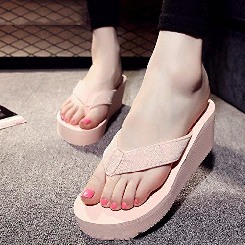 Cómodo Pantalones de tacón alto del verano Las mujeres forman la cuesta de la cadena con los deslizadores Zapatos gruesos de las sandalias del emparedado Zapatillas frescas de la personalidad (3 color B