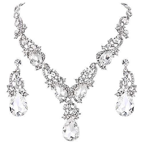 - BriLove Wedding Bridal Necklace Earrings Jewelry Set Multi Teardrop Cluster Crystal Statement Necklace Dangle Earrings Set Clear Silver-Tone