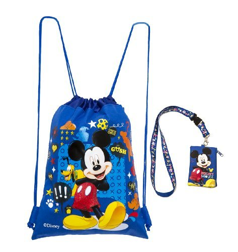 Disney Mickey Mouse bluee Drawstring Backpack and Mickey Lanyard 2 Pack by Disney
