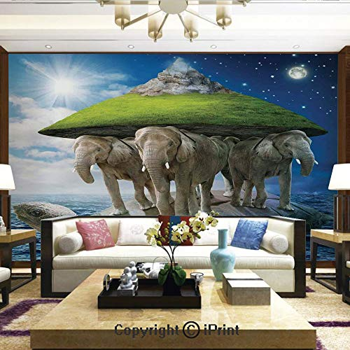 Wallpaper Nature Poster Art Photo Decor Wall Mural for Living Room,Turtle Carrying Elephants with The Earth on Their Backs Cosmic Philosophy,Home Decor - 100x144 inches