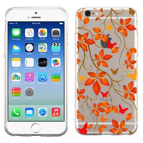 PhoneTatoos (TM) Iphone 5S Autumn Leaf Transparent Clear Candy Skin Cover (Autumn Leaf Red-Orange Mixed) (Gray Bree)