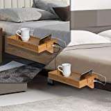 Bamboo Bedside Bed Shelf- with USB Ports to